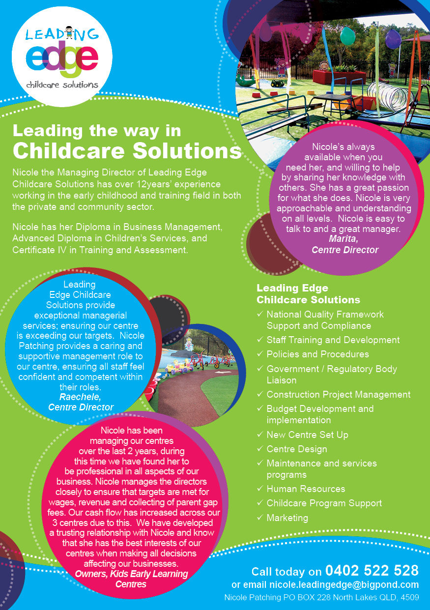 Leading Edge Childcare Solutions A5 flyer